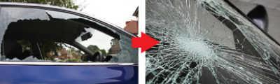車のガラスが割れ飛散したサンプル画像